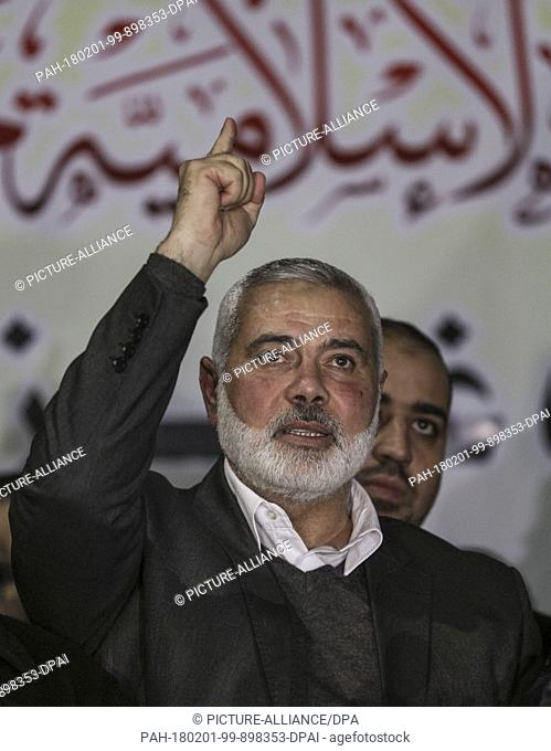 dpatop - Chairman of the political bureau of the Hamas Palestinian Islamist movement, Ismail Haniyeh, gestures during a protest against the US decision to...