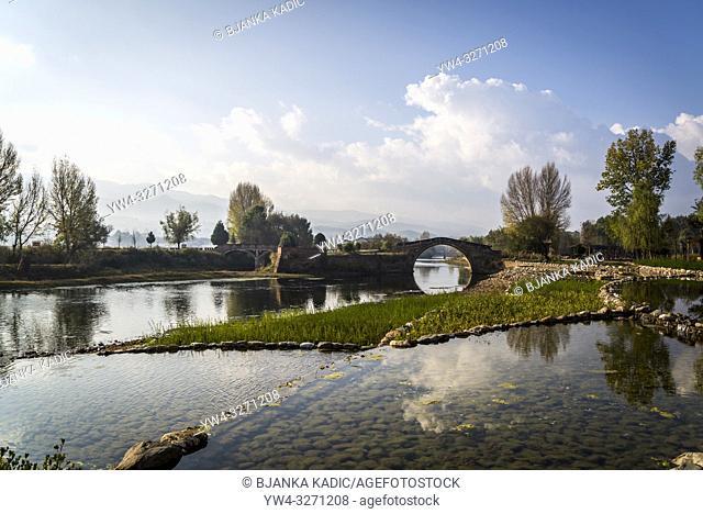 Yujin Bridge,, Ancient bridge and Landscape near Shaxi historic market town, Yunnan, China
