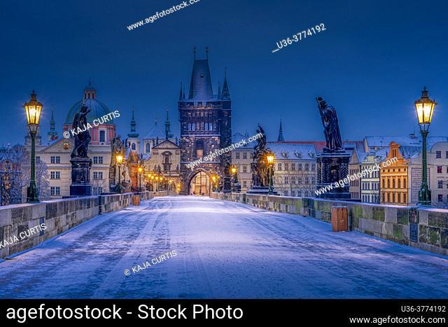 Winter sunrise on Charles Bridge Prague