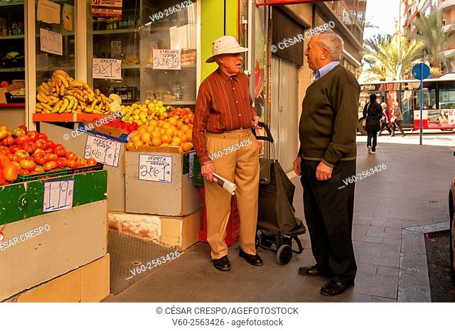 -Spanish Citizen Shopping in Market place- Alicante Spain