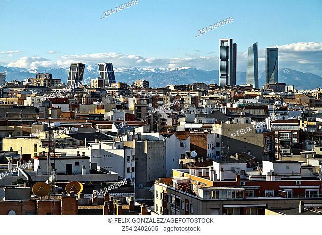 Panoramic View, Four Towers and Kio Towers, Madrid, Spain