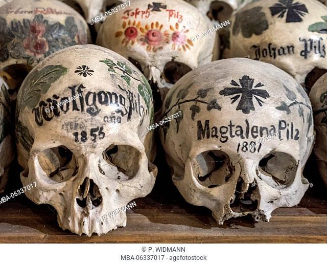 Dead skull in the charnel-house, Karner St. Michael's chapel, Hallstätter lake, Salzkammergut, UNESCO world heritage Hallstatt-Dachstein Salzkammergut