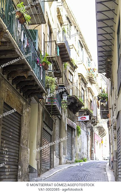 View of a street in the old city. Palermo, Sicily. Italy