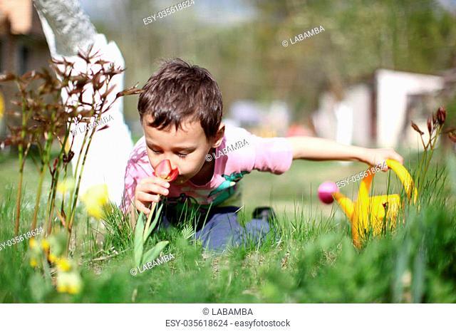 Smelling boy a flowers