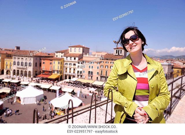 tourist woman in verona