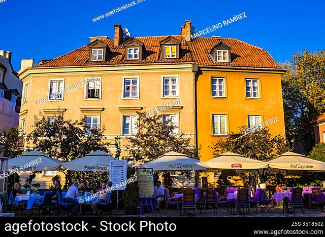 Portretowa restaurant terrace on Rycerska street, near old medieval defensive walls. Warsaw, Poland, Europe