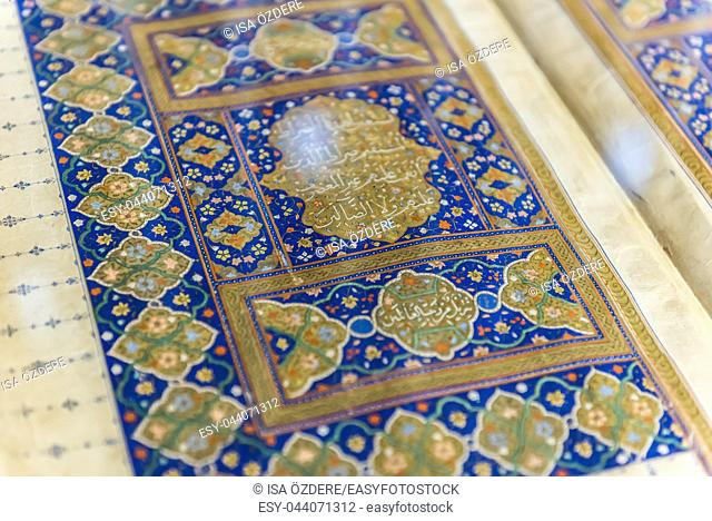 Moslem Holy ancient Book the Quran in Mevlana museum in Konya,Turkey. 28 August 2017