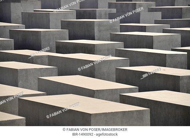 Field of steles of the Holocaust Memorial, designed by Richard Serra and Peter Eisenman, Berlin, Germany, Europe