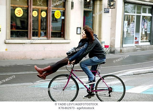 Sep 2008 - Coulpe riding a bicycle, Strasbourg, Alsace, France