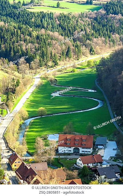 Meander of the Lauter River in the Grosses Lautertal Valley near Gundelfingen, Swabian Alb, Germany