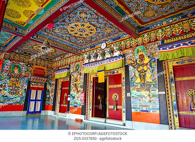 Colorful passage at Rumtek Monastery, Sikkim, India