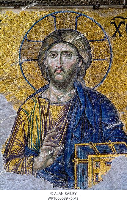 Turkey, Hagia Sophia Mosque, Close up of mosaic depicting Jesus Christ