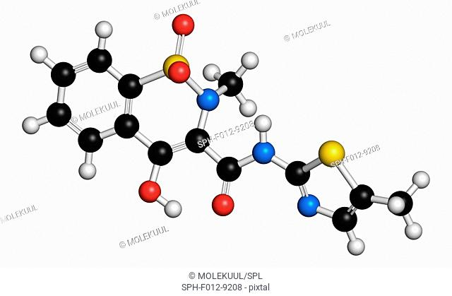 Meloxicam NSAID drug molecule. Atoms are represented as spheres and are colour coded: hydrogen (white), carbon (black), oxygen (red), nitrogen (blue)