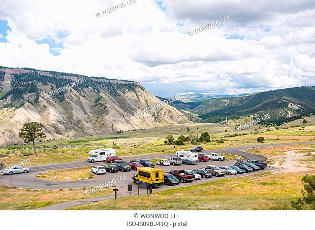 Tourist carpark in valley, Yellowstone National Park, Wyoming, USA