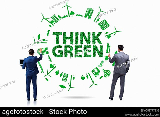 Businessman in the think green concept