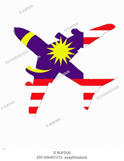 The Malaysia flag painted on the silhouette of a aircraft. glossy illustration