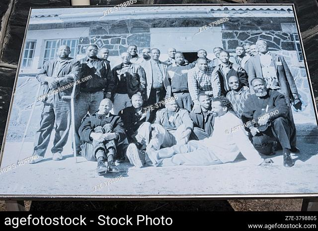 Historical photograph on display. Robben Island Prison Museum. Table Bay, off Bloubergstrand coast, Cape Town, South Africa, Africa