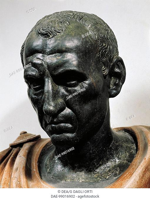 Roman civilization, 1st century b.C. Bronze head with marble bust of Julius Caesar, 100-44 b.C. Detail, face.  Roma, Museo Nazionale Romano Palazzo Altemps