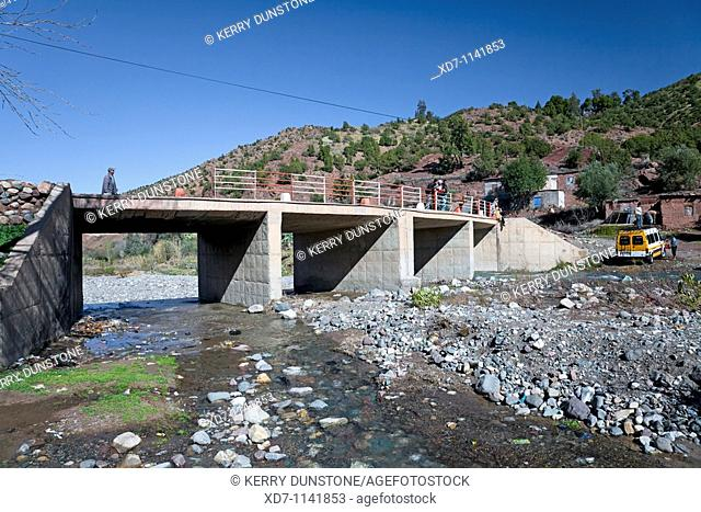 Morocco High Atlas Mountains Ijoukak Bridge over Oued Nfiss (Oued Agoundiss)