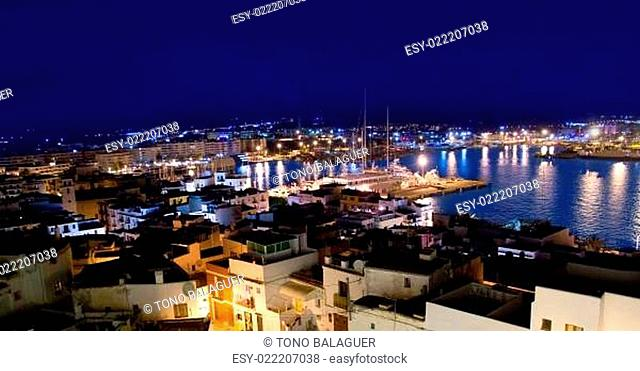 Ibiza downtown eivissa high angle night view