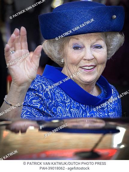 Queen Beatrix of The Netherlands opens the Huygens Exhibition at the Grote Kerk in The Hague, The Netherlands, 24 April 2013