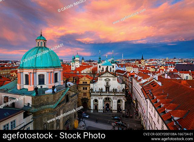 Sunset view of the historical city centre of Prague