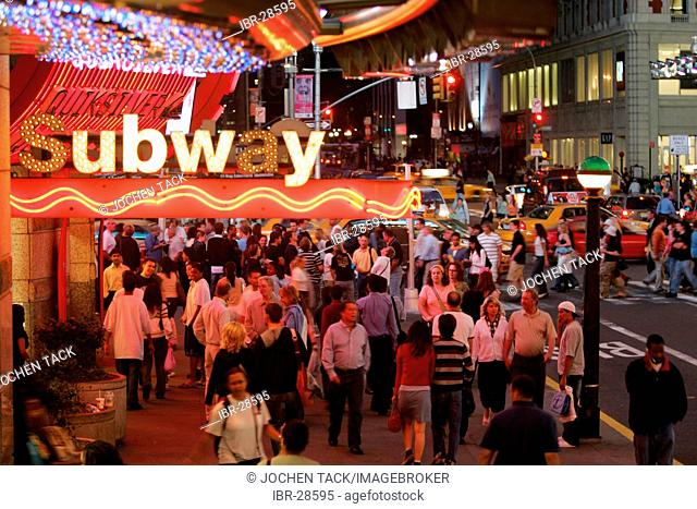 USA, United States of America, New York City: Times Square. Subway Station, entrance, 42nd Street