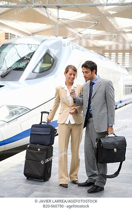 Businessmen. Travelers. AVE, Tren de Alta Velocidad. Delicias station, Zaragoza, Aragón. Spain