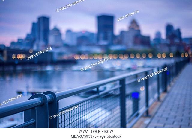 Canada, Quebec, Montreal, The Old Port, city view, dusk