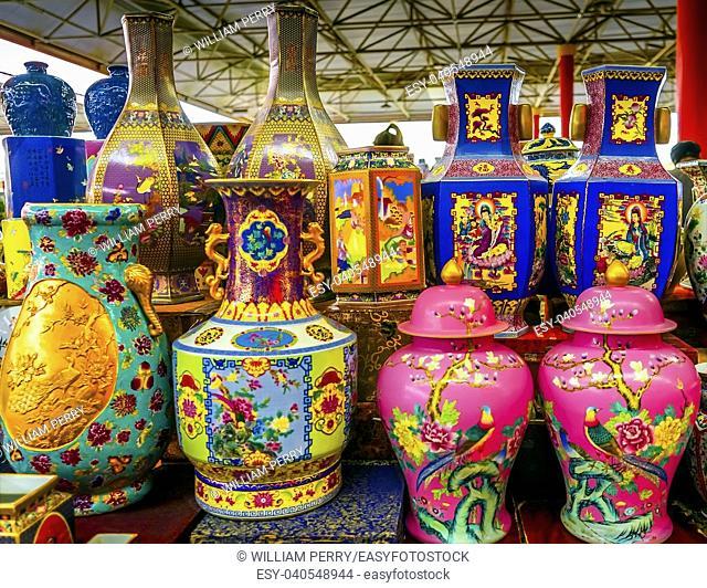 Old Chinese Design Large Colorful Ceramic Vases Pots Panjuan Flea Market Beijing China. Panjuan Flea Curio market has many fakes