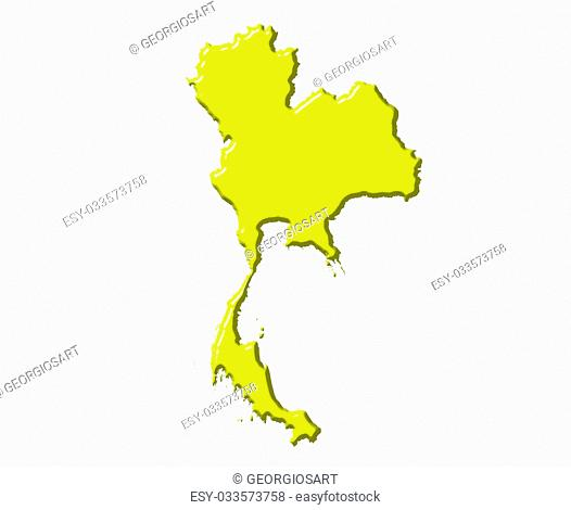Thailand 3d map with national color isolated in white