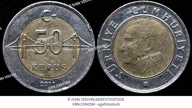 50 kurus coin, Turkey, 2011