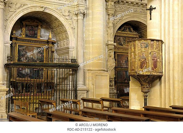 Religious paintings, interior of Cathedral, Baeza, Jaen, Andalusia, Spain