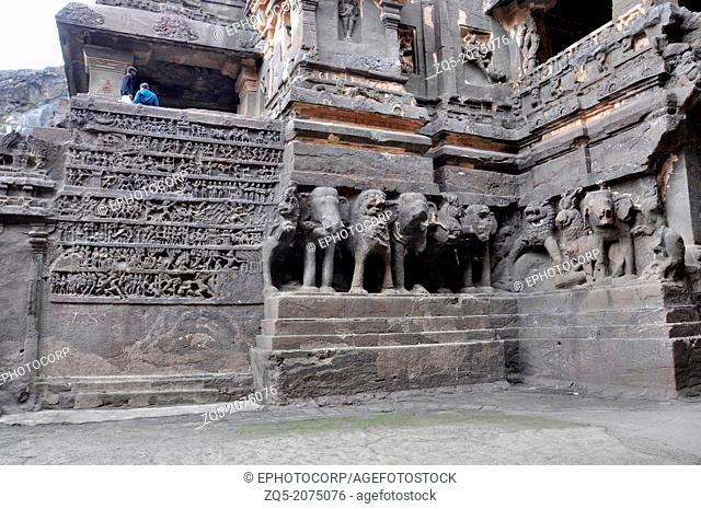 Cave 16 : Main temple plinth with war scene from the epics of Ramayana. Ellora Caves, Aurangabad, Maharashtra, India