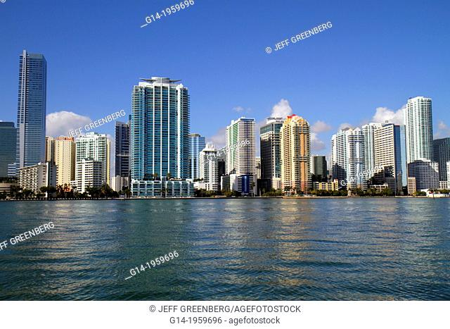 Florida, Miami, Biscayne Bay, city skyline, Brickell Avenue, water, skyscrapers, high rise, condominium, office, buildings, Four Seasons Hotel,