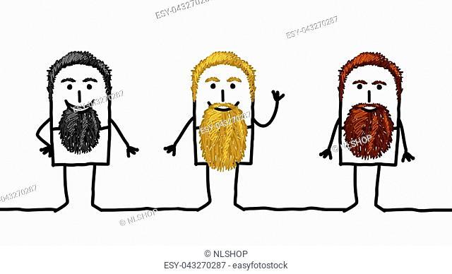 Three Cartoon Bearded Men