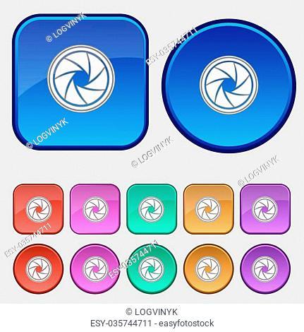 diaphragm icon. Aperture sign. Set colourful buttons. Vector illustration