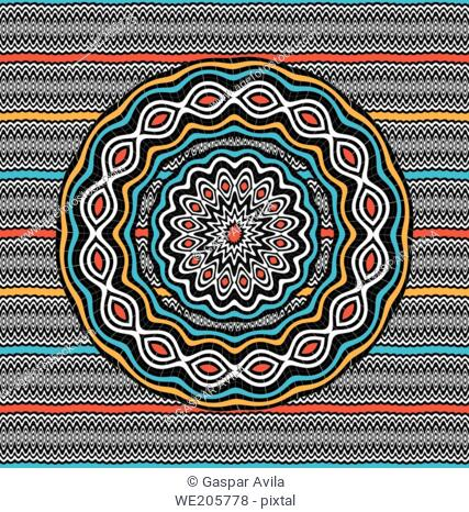 Mandala with wavy patterns and ethnic colors
