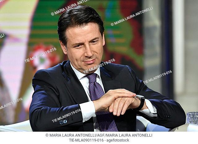 Italian Prime Minister Giuseppe Conte during the tv show Porta a porta, Rome, ITALY-09-01-2019