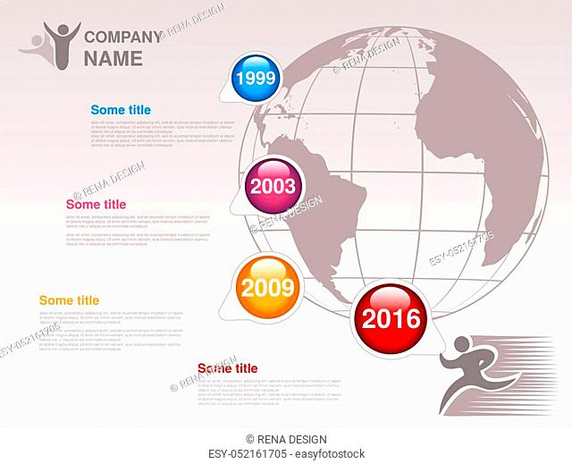 Vector timeline. Infographic template for company. Timeline with colorful milestones - blue, magenta, orange, red. Pointer of individual years