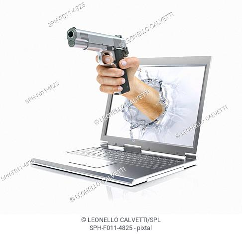 Laptop with a hand holding a gun, computer illustration