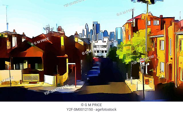 graphically reprocessed photo of suburban street with Sydney skyline in the background, Kirribilli, Sydney