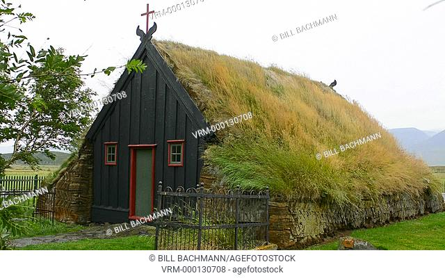 Iceland Vidimyrikirkia near Varmahlid in Northern Iceland Vidimyri Church turf Church one of prettiest examples of old church architecture