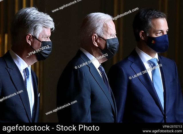 King Philippe - Filip of Belgium, US President Joe Biden and Prime Minister Alexander De Croo pictured during an audience at the Royal Palace in Brussels