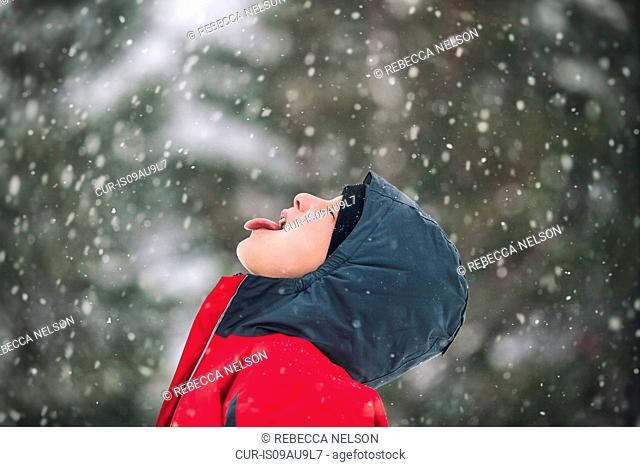 Side view of boy sticking out tongue catching snowflakes