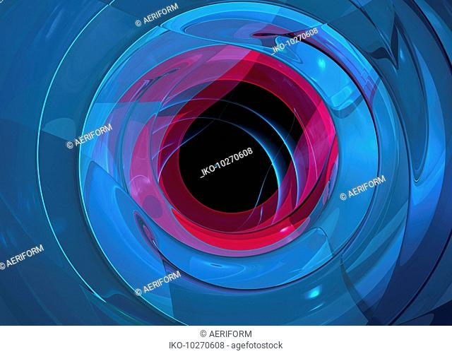 Black hole in the centre of blue and pink spiral pattern
