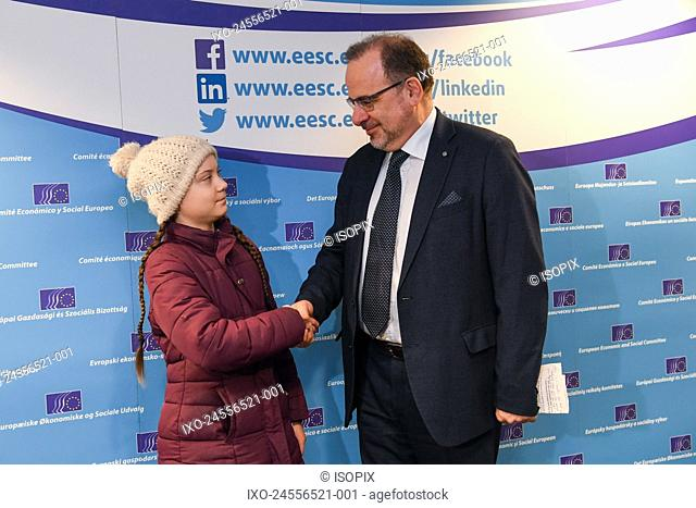 Brussels, 21/02/2019 Meeting between Greta Thunberg and Anuna De Wever before the Climat demonstration and the plenary session of EESC Pix : Luca Jahier / Greta...