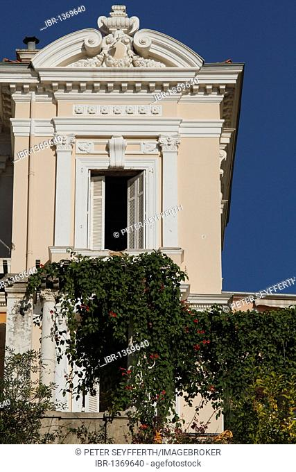 Historic villa, open window, pergola with twines, Boulevard d'Italie, Monaco, Cote d'Azur, Europe