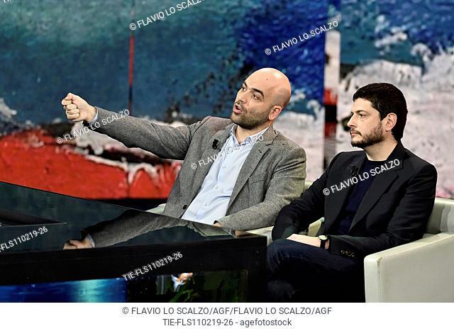 Roberto Saviano, the film director Claudio Giovannesi during the tv show Che tempo che fa, Milan, ITALY-10-02-2019