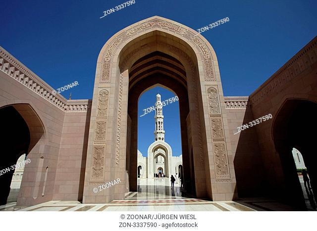 Torbogen in der großen Sultan Qabus Moschee, Grand Mosque, Muskat, Maskat, Oman - Archway in the great Sultan Qaboos Mosque, Grand Mosque, Muscat, Muscat, Oman